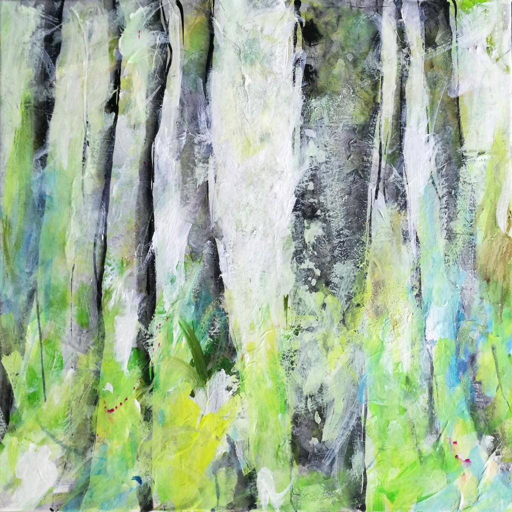 Dierker 12-Frühling-läßt-sein-blaues-Band,-Mischtechnik-auf-Leinwand,-40x40cm