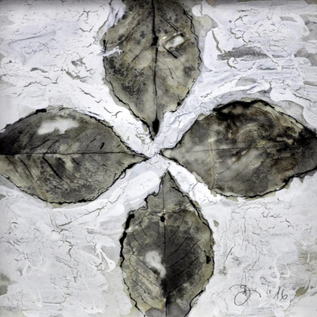 Dierker 19c,-memento-mori-III,-Blattfrottage,-Schellack,-Tusche-auf-Glas,-20x20cm