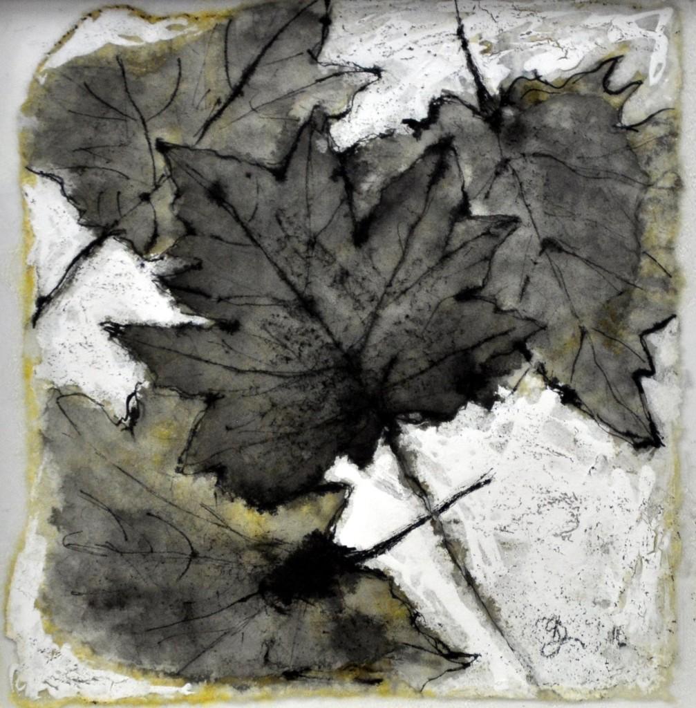 Dierker 19d,-memento-mori-IV,-Blattfrottage,-Schellack,-Tusche-auf-Glas,-20x20cm