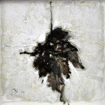 Dierker 19e,-memento-mori-V,-Blattfrottage,-Schellack,-Tusche-auf-Glas,-20x20cm