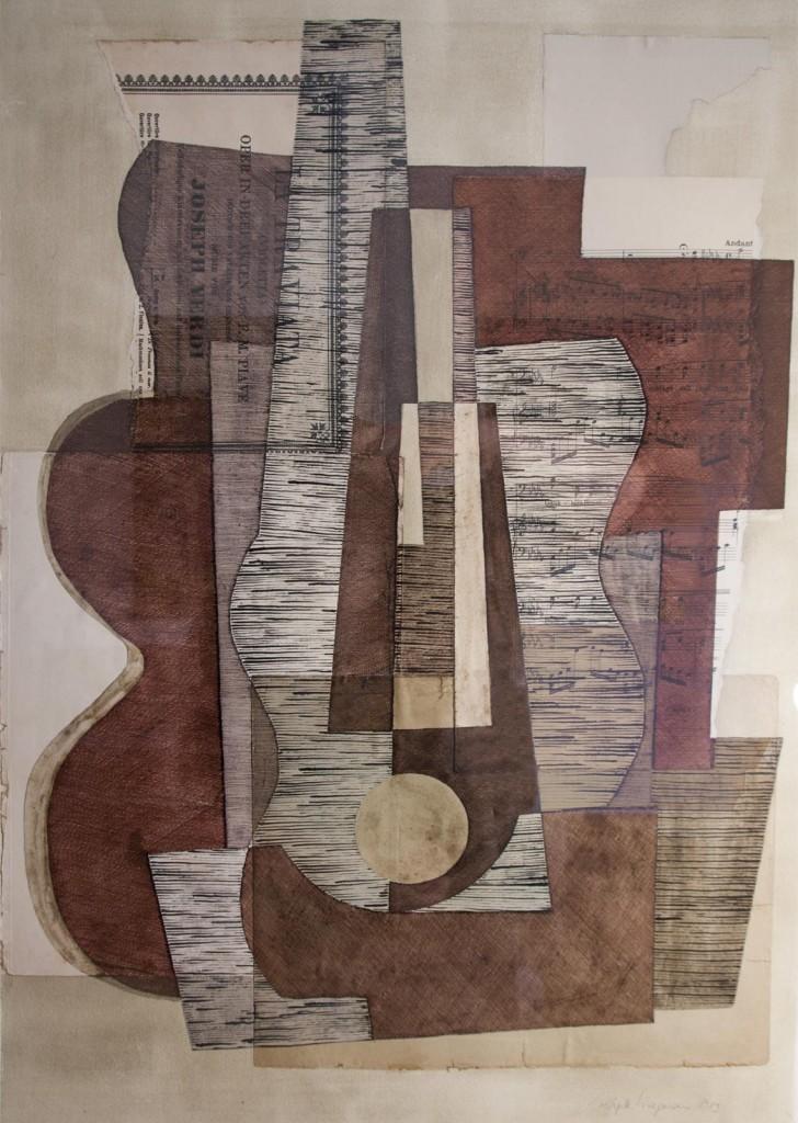 Violinkonzert nach Joh. Seb. Bach (Klangkörper I, 1983), Tusch- Federzeichnung / Tempera / Collage, 70 x 50 cm