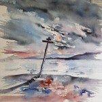 Kotzebue-Aquarell-Eismeerküste-Russland-55x75-1985